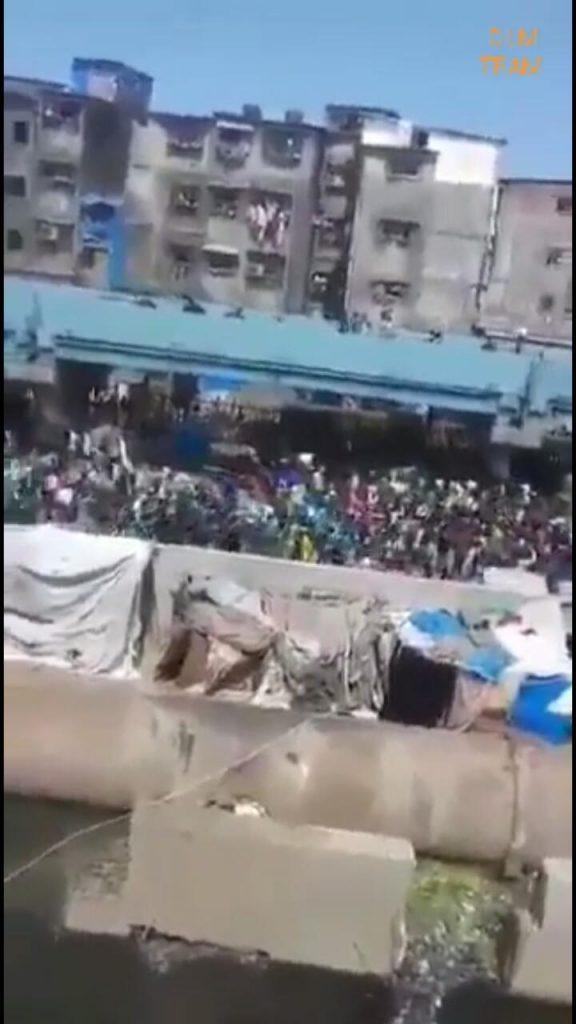 Massive Crowd Outside Mumbai's Bandra Railway Station