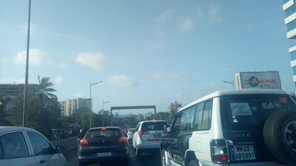 Heavy traffic jam at Mumbai's Western Express Highway